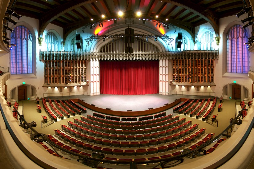Fisheye view of auditorium in Bovard Administration Building